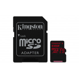 KINGSTON MICROSDHC64GB REACT UHS-I U3  ADATT. CL10 100mb/s LET 80mb/s SCR  SDCR/64GB