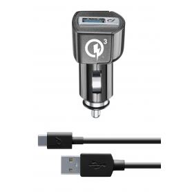 CELLULAR CBRHUKITQCTYCK CARICA AUTO QC USB-C  HUAWEI NERO