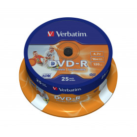 VERBATIM 43538 DVD-R 16X CONF 25PZ SPINDLE PRINTABLE