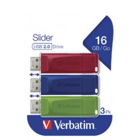 VERBATIM 49326 SLIDER PENDRIVE USB2.0 16GB x 3 PZ rosso/verde/blu