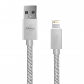 PHONIX PHTH3S USB DATA/CHARGE CABLE - Apple Lightning - 100 cm. length nylon - SILVER