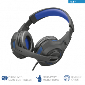 TRUST 23250 GXT307B RAVU CUFFIE MICR GAMING NERA/BLU PER PS4 E PC, CAVO JACK