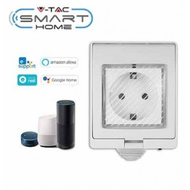 V-TAC 8414 WIFI SOCKET IP55 COMPATIBLE WITH AMAZON ALEXA AND GOOGLE HOME