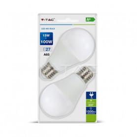 V-TAC 7301 LED Bulb - 15W E27 A65 Thermoplastic 4000K  Blister 2 Pezzi