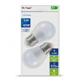 V-TAC 7361 LED Bulb - 5.5W E27 G45 Plastic 4000K  Blister 2 Pezzi