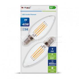 V-TAC 7365 LED Bulb - 4W E14 Candle Filament Clear Cover 2700K  Blister 2 pezzi