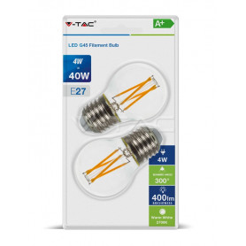 V-TAC 7367 LED Bulb - 4W Filament E27 G45 Clear Cover 2700K  Blister 2 Pezzi