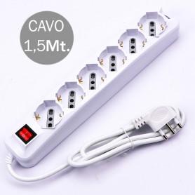 V-TAC 8713 6 PRESE CON INTERRUTTORE LUMINOSO 10/16A BIPASSO/SCHUKO CAVO H05VV-F 3G1.0MMX1.5M CON SPINA 16A 2P T
