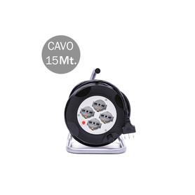 V-TAC 8702 4 PRESE BIPASSO/SCHUKO CON PROT TERMICA RIP CAVO 15M 3X1.5MM CON SPINA DA 16A