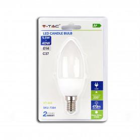 V-TAC 7384 Lampadina LED 5.5W E14 Candela 3000K  Blister 1 pezzo