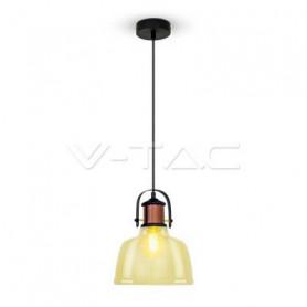 V-TAC 3726 Lampadario LED in Vetro e Metallo con Portalampada E27  Max 60W  Colore Ambrato