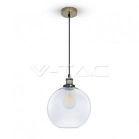 V-TAC 3739 Lampadario LED a Sfera in Vetro con Portalampada E27  Max 60W  Colore Trasparente