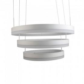 V-TAC 3989 Lampadario LED a Sospensione con 3 Cerchi 80W in Metallo Colore Bianco 3000K Triac Dimmerabile