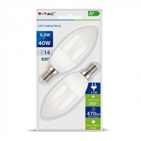 V-TAC 7292 LED Bulb - 5.5W E14 Candle 4000K  Blister 2 pezzi