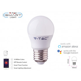 V-TAC 2755 SMART LED E27 5W G45 Comp.con Google Home e Alexa RGB e 3 in 1 Dimmerabile