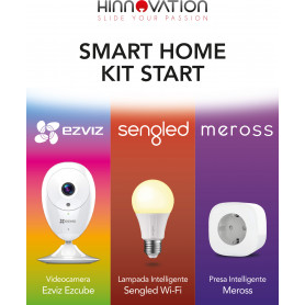 EZVIZ SMART HOME STARTER KIT : EzCube VIDEOCAMERA + SENGLED ELEMENT LAMPADINA WIFI + MEROS MSS210 PRESA INTELLIGENTE