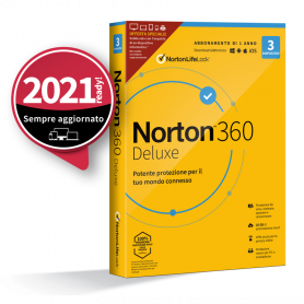 NORTON 360 Deluxe 2020 - 3 Dispositivi 12 Mesi 25GB - Attach , senza abbonam.