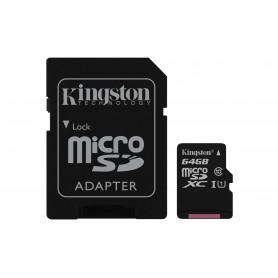 KINGSTON MICROSDXC64GB SELECT UHS-I ADATT. CL10 80mb/s LET 10mb/s SCR  SDCS/64GB